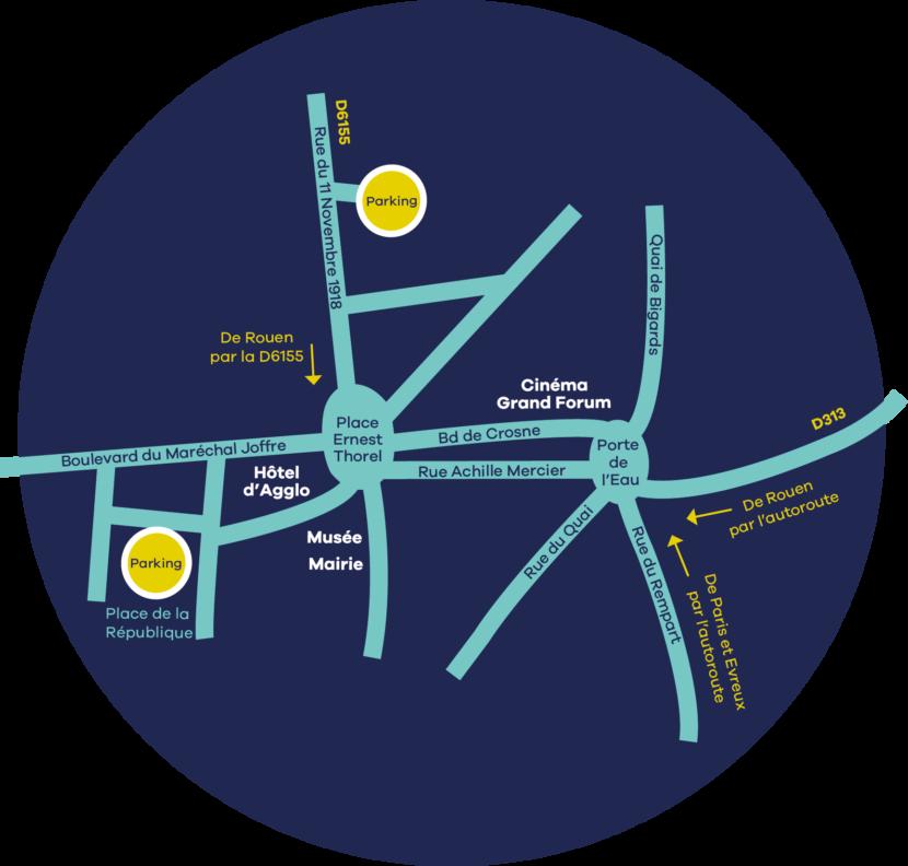 Carte d'accès à l'Hôtel d'Agglomération situé à Louviers